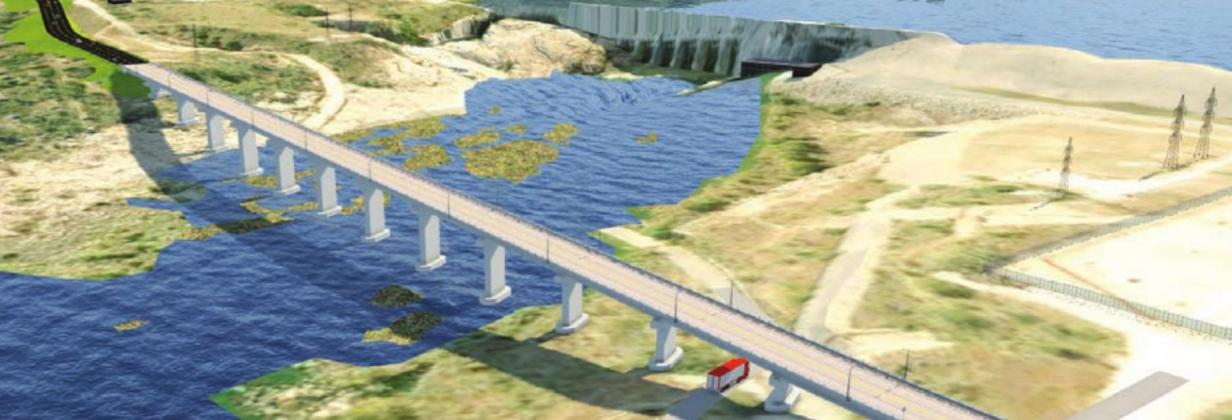 Designers have conceptualized what the new Wirtz Dam Road bridge crossing might look like when completed. Contributed