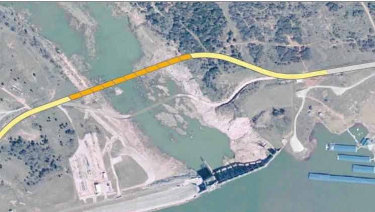 A Texas Department of Transportation feasibility study from 2005 discussed the possibility of a new bridge crossing over the Colorado River near Wirtz Dam, including one possible suggested route as outlined in the photo, which would link together Wirtz Dam Road north and south of the river. This week, the Burnet County Commissioners Court signed a contract with KC Engineering to perform planning, surveying and engineering services to design the long-discussed crossing. Contributed/TxDOT