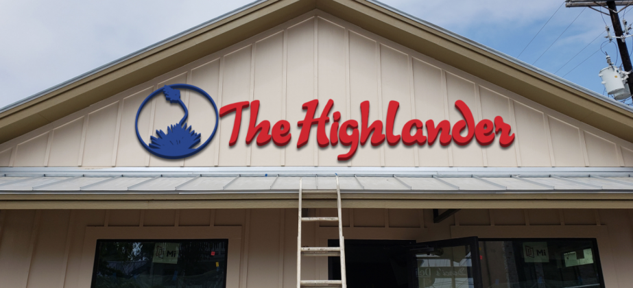 Preparations are underway to install The Highlander's iconic signage, 905 Third St., seen here in a rendering. Resident and visitors in downtown Marble Falls will soon be able to see the recognizable logo, designed during the newspaper's inception in 1959, on the building in the next few days.