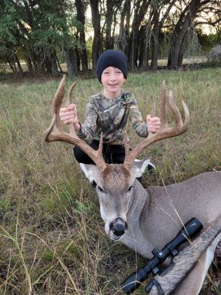 Gavin Oakley, 11, of Burnet, brought down this 16-point buck (only 11 scorable) on Sunday, Nov. 1, during opening Youth Weekend at his family place in Burnet County. The buck was 125 pounds dressed. Gavin is the son of George and Tammye Oakley. The general deer season runs from Nov. 7 through Jan. 3, 2021 in the North Zone and Jan. 17, 2021 in the South Zone. A special youth-only gun deer season is set for Oct. 31 and Nov. 1 and Jan. 4 through 17, 2021.Contributed