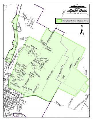 A map of areas affected by the city's boil water notice shows a swatch of neighborhoods in primarily the northeast section of the community. Contributed/City of Marble Falls