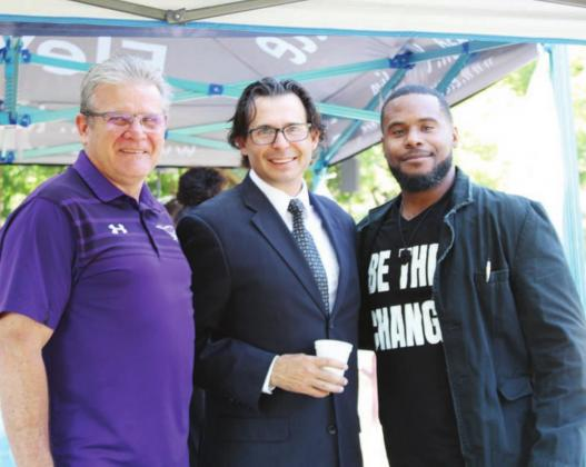 Pictured, from left, are Marble Falls Church of Christ Pastor Greg Neill, Marble Falls First Baptist Church Pastor Ross Chandler and protest speaker Calvin Richard.