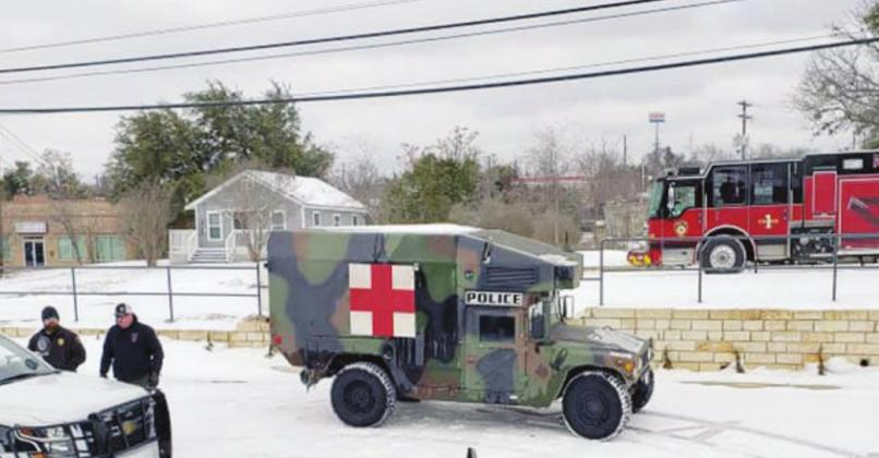 Red Cross resources staged at the Marble Falls Police Department. Contributed photos