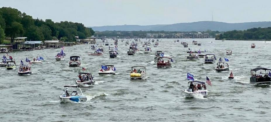 Hundreds of boats descended on Lake LBJ in the Kingsland area on Saturday, Sept. 5 to rally in support of President Donald Trump. Contributed/Judge James Oakley