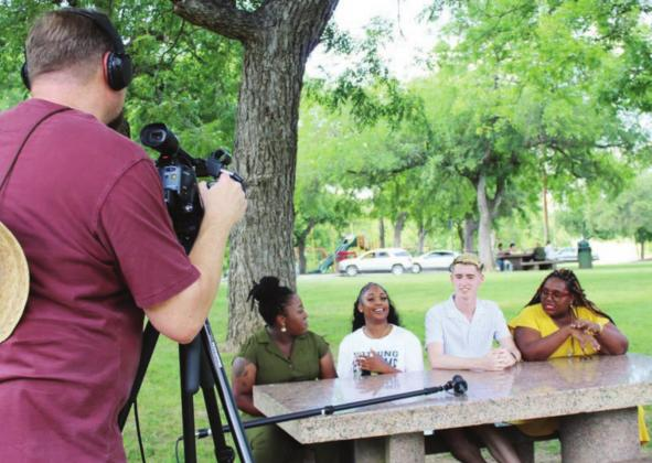 Concerns about the in custody death of a black man in Minnesota prompted Marble Falls High School graduates from the class of 2020 to organize a Black Lives Matter protest. On June 5 the group met area media in the park where the upcoming protest is planned. Pictured, from left, are: Mauri Harris, Shyann Brown, Bryce Laake and Organizing Spokeswoman Monique Breaux. Connie Swinney/The Highlander