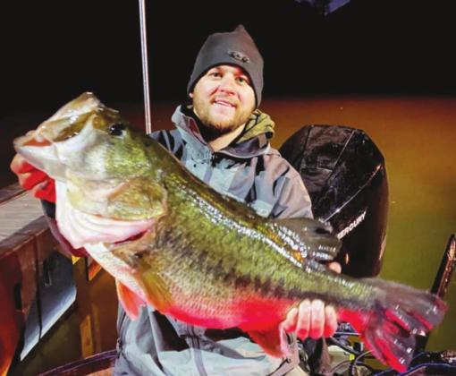 Angler CJ Oates, of Lago Vista, caught this 13.02 pound bass at Lake Austin on Thursday, Jan. 14. Contributed/TPWD Fishing