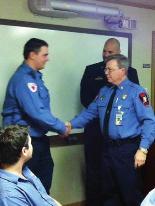 Granite Shoals Fire Rescue Firefighter/EMT Dustin Short shared a warm greeting in 2016 with his father David Short, who also worked with the agency, as well as Fire Chief Austin Stanphill.Contributed