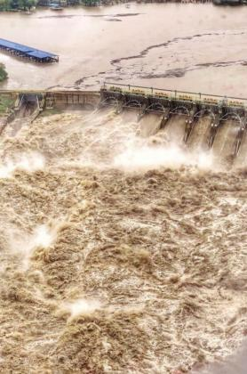 Wirtz Dam overflowed its spillway during the October flood. Contributed
