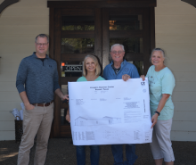 Members of the Joseph's Hammer board of directors thanked Jerome Rugen of Delineations for their help on the Ellen Halbert Unit worship center project. From left are Rugen and Joseph's Hammer board members Helen Smith, Davey Haberer and Paige Lechler. Contributed